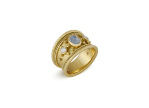 Blue Moonstone and Diamond Tapered Templar Ring