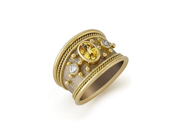 Yellow Sapphire and Diamond Gold Tapered Templar Ring; fine jewellery London