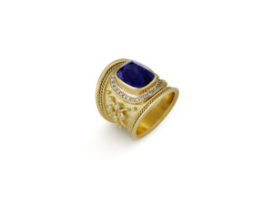Tanzanite and Diamond Tapered Templar Ring; gold ring; fine jewellery London