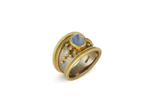 Diamond and Blue Moonstone Tapered Templar Ring; gold ring; fine London jewellery