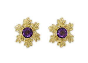 Amethyst and vine leaf earrings