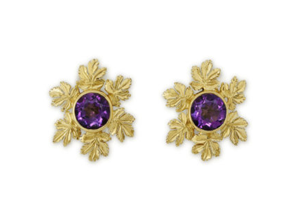 Amethyst and vine leaf earrings; fine jewellery London; Elizabeth Gage