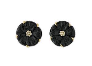 Dark blue tourmaline flower cameo earrings