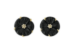 Dark Blue Tourmaline Flower Cameo Earrings