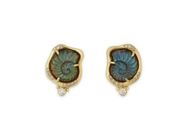 Spectrolite Snail Cameo and Diamond Earrings