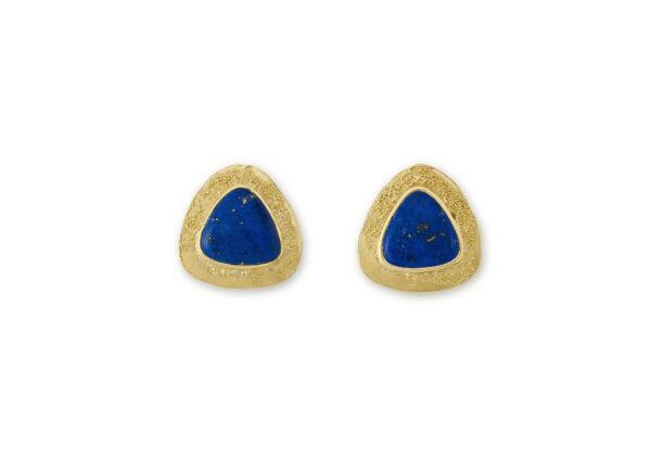 18ct yellow gold earrings featuring triangular Lapis Lazuli; fine jewellery London