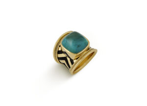 Blue-green Tourmaline with Black Enamel Tapered Templar Ring