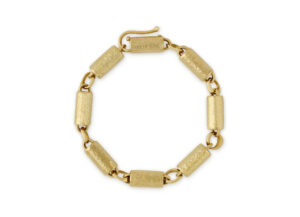 Planished Gold Large Tube Bracelet