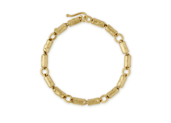 Molten Gold Small Tube Bracelet; gold bracelet; fine jewellery London