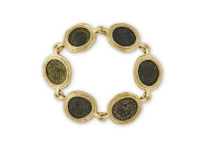 Gold bracelet with Roman bronze coins; fine jewellery London