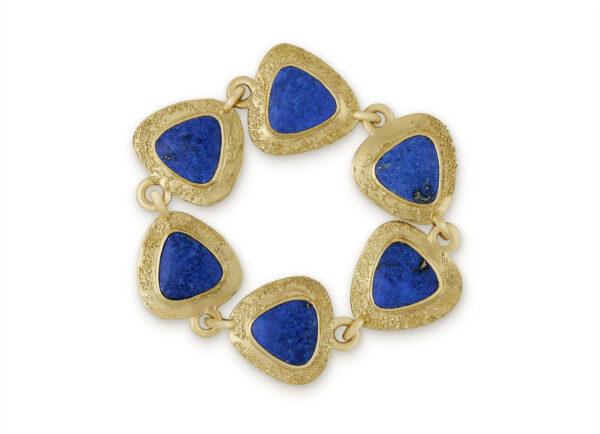 Gold bracelet with six lapis lazuli; fine jewellery London