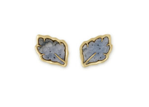 Dendrite Agate Leaf Gold Earrings; fine jewellery London