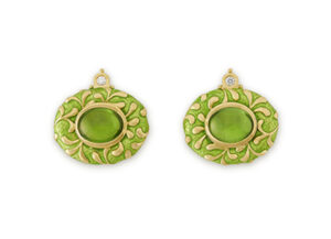 Peridot and green enamel Persian queen earrings