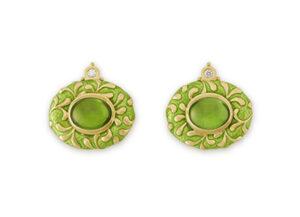 Peridot and green enamel Persian queen earrings