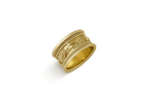 Gold Band Ring with myrtle leaf motif; fine jewellery London