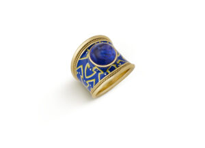 Tanzanite and Enamel Tapered Templar Ring
