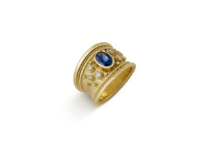 Sapphire and Diamond Tapered Templar Ring