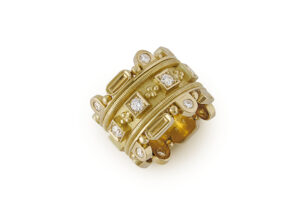 Gold Crown Ring with Diamonds; fine jewellery London