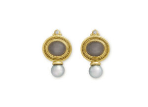Valois gold earrings with grey moonstones, diamonds and pearls; fine jewellery London