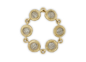 Gold bracelet featuring 6 silver hemidrachm; fine jewellery London