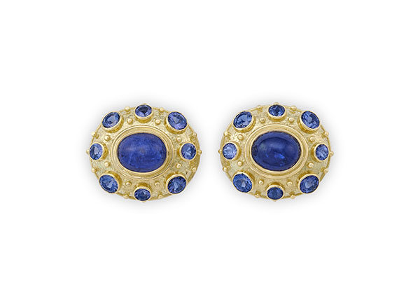 18ct gold Tanzanite earrings; fne jewellery London