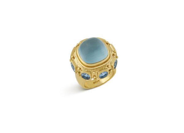 Gold Ottoman ring with aquamarines; fine jewellery London