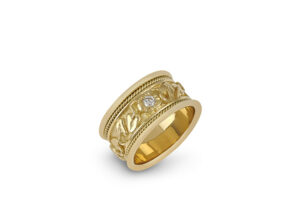 Gold Templar band ring with myrtle leaf motifs and diamonds; fine jewellery London; Elizabeth Gage