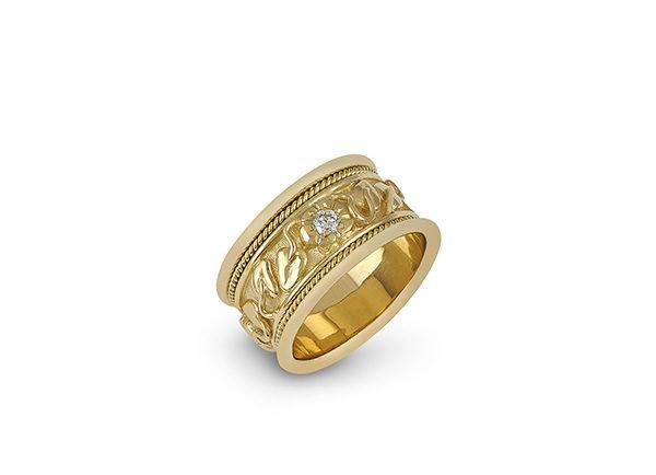 Gold Templar band ring with myrtle leaf motifs and diamonds; fine jewellery London; Elizabeth Gage