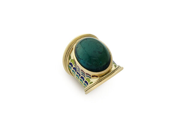 Gold ring featuring blue-green tourmaline and chevron enamel; fine jewellery London