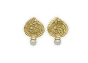 Gold earrings with Akoya pearl and diamonds; fine jewellery London; Elizabeth Gage