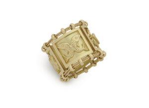 Gold Agincourt Zodiac band ring; fine jewellery London; Elizabeth Gage