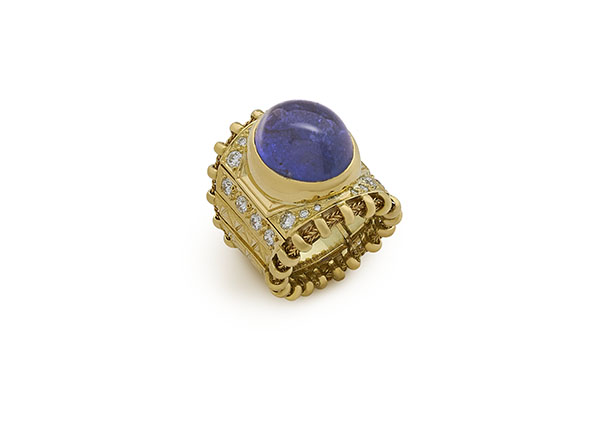 Tanzanite and Diamond Agincourt Ring