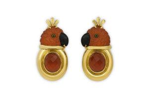 Gold earrings with mandarin garnet parrot head; fine jewellery London; Elizabeth Gage