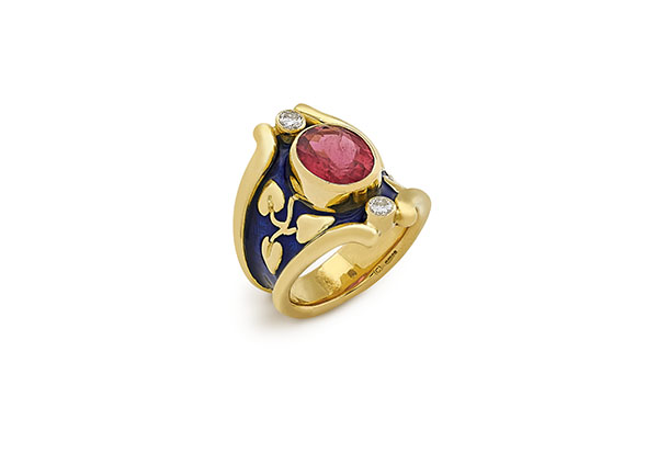 Gold Heliotrope ring with rubellite and diamonds; find jewellery London; Elizabeth Gage