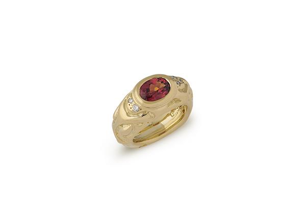 Gold ring with Malaya garnet and diamonds; fine jewellery London; Elizabeth Gage
