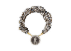 Necklace with agate, molten gold and historical silver medal; fine jewellery London; Elizabeth Gage