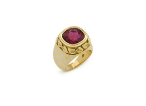 Gold Orlov ring with rubellite and white enamel; fine jewellery London; Elizabeth Gage