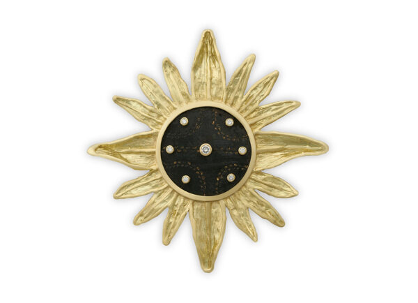 Gold pin featuring bronze, mirror and diamonds; fine jewellery London; Elizabeth Gage