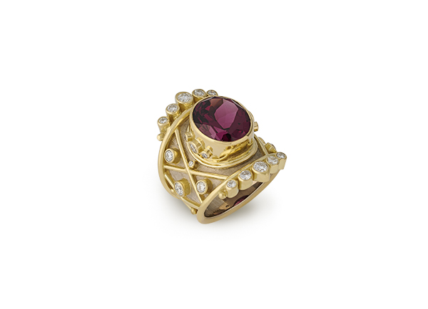 Yellow and white gold Trellis ring with rhodolite garnet and diamonds; fine jewellery London