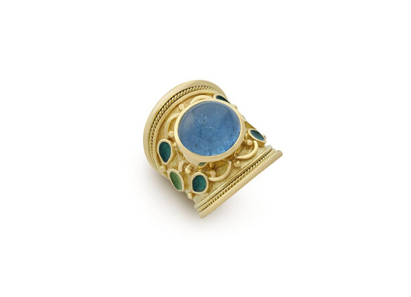 Gold tapered Templar ring with aquamarine and enamel; fine jewellery London