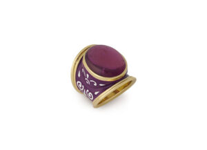 Gold ring with rubellite and purple and white enamel; fine jewellery London; Elizabeth Gage