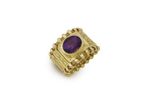 Gold tapered Agincourt ring with amethyst and yellow diamonds; fine jewellery London