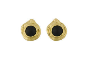 Gold earrings featuring black onyx; fine jewellery London