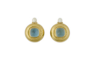 Gold earrings featuring aquamarine and plume pearls; fine jewellery London