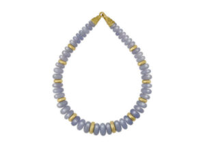 Gold necklace with chalcedony beads; fine jewellery London