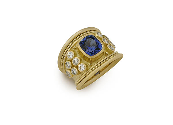 Gold tapered Templar ring with sapphire and diamonds; fine jewellery London