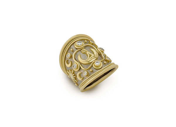 Yellow and white gold tapered Virgo Zodiac ring with diamonds; fine jewellery London
