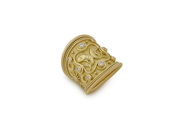 Gold zodiac ring; fine jewellery London
