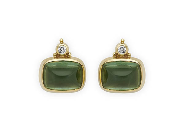 Gold Persian Queen earrings with green tourmaline and diamonds; fine jewellery London