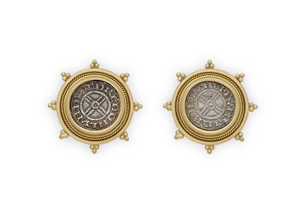 Silver coin earrings; fine jewellery London